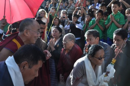 His Holiness the Dalai Lama being welcomed upon his arrival at TCV school to grace its golden jubilee celebration in Dharamsala on 31 October 2010