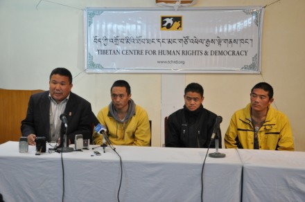 From right: Khedup Gyatso, Lobsang Norbu and Kunga Rinchen during the press conference