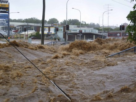 A street is covered by a flash flood in Toowoomba, Queensland 10 January 2011. Residents in