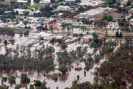The town of Chinchilla in Queensland, Australia is seen flooded Wednesday, 29 Dec. 2010.