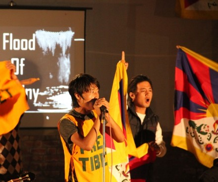Students of MS University of Baroda participating in Tibet awareness programme.