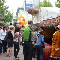 Visitors throng a Tibetan stall at the annual National Multicultural Festival in Canberra, Australia,