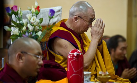 His Holiness the Dalai Lama (centre) during a prayer service in Dharamsala, India, in 2010/File
