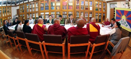 Speaker Penpa Tsering presides over a meeting of the members of the Kashag and the Parliament's Standing