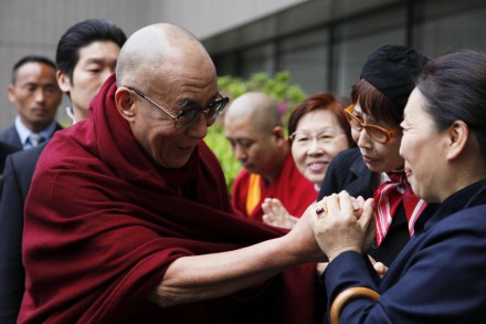 His Holiness the Dalai Lama arriving in Tokyo, Japan, on 28 April 2011, on his way to the US for