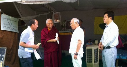 Kalon Tripa (2nd left) and Kalon Tempa Tsering (2nd right) during their visit to the Tibetan hunger strikers at Jantar Mantar in Delhi, on 15 May 2011. Also
