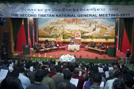 The opening session of the Second Tibetan National General Meeting being held at the TCV School auditorium in