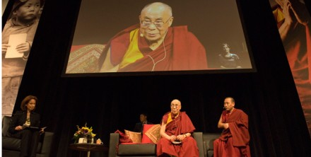 His Holiness the Dalai lama during his public talk in Canberra, Australia, on 14 June 2011.