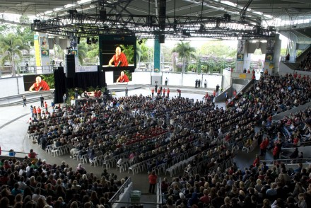 Thousands listen to His Holiness the Dalai lama's public talk on the spirit of never giving up in Brisbane,