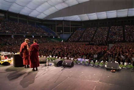"""His Holiness the Dalai Lama giving a public talk on """"Spirituality in the Modern World"""" in Perth, Australia."""