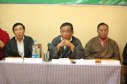 The Chief Justice Commissioner Ngawang Phelgyal flanked by Justice Commissioners Ngawang Thupten and Tsering Dhondup at the training.