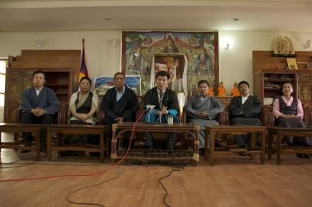 Kalon Tripa Dr Lobsang Sangay announcing the portfolios of the new Kalons at the press conference.