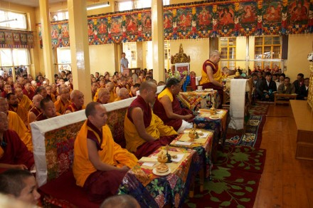 His Holiness the Dalai Lama presides over a special prayer service at the main temple in Dharamsala, India,