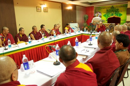 His Holiness the Dalai Lama addressing the 11th religious conference of four major Buddhist schools and