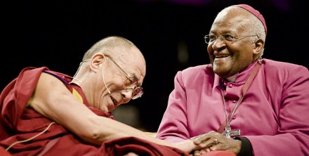 His Holiness the Dalai Lama with fellow Nobel Peace Laureate Archbishop Desmond Tutu/File photo
