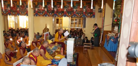 Kalon Tripa Dr Lobsang Sangay addressing the day-long special prayer service and fasting held as a gesture of