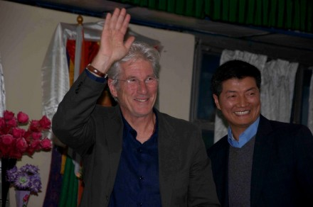 Accompanied by Kalon Tripa Dr Lobsang Sangay, Richard Gere greets staff members of the Central Tibetan