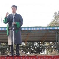 Kalon Tripa Dr Lobsang Sangay speaks during an exhibition of soil