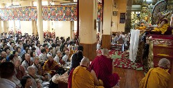"His Holiness the Dalai Lama giving a three-day teaching on Je Tsongkhapa's ""The Great Treatise on the Stages of the Path to Enlightenment"" (Lamrim Chenpo) at the request of Korean devotees in Dharamsala on October 23, 2011. (Photo/OHHDL/Tenzin Chojor"