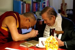 His Holiness the Dalai Lama greeting former Czech President Vaclav Havel in Prague on December 10, 2011.