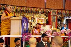 "His Holiness the Dalai Lama speaks at a public felicitation ceremony attended by Chief Ministers of Bihar and Arunachal Pradesh in Bodh Gaya in the afternoon of January 10, 2012 after concluding the Kalachakra teachings. The Dalai Lama was bestowed the honorary title of ""the Supreme Master of Complete Teachings of Lord Buddha"". (Phayul Photo/Norbu Wangyal)"