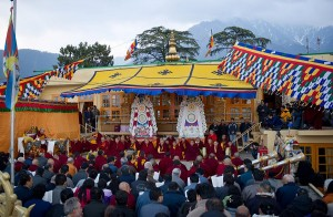 His Holiness presides over Tsedhor, the official religious ceremony on the First day of Losar at Tsuglha Khang, Dharamsala (Photo: OHHDL