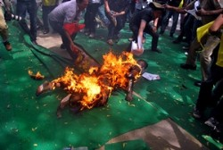 Jamphel Yeshi, a Tibetan youth living in New Delhi set his body on fire at a mass protest at Jantar Mantar in the Indian capital demanding international intervention in the ongoing crisis in Tibet on March 26, 2012. (Phayul photo/Norbu Wangyal)