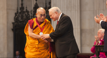 Dr John M Templeton Jr presents the 2012 Templeton Prize to His Holiness the Dalai Lama at St Paul's Cathedral in London on 14 May 2012/Photo/Clifford Shirley