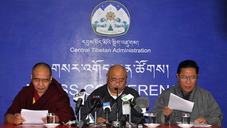 Election Commissioner Mr Sonam Choephel Shosur flanked by the two Additional Election Commissioners Mr Tenzin Choephel (right) and Ven Geshe Tenpa Tashi (left) at the press conference, 3 February 2016.