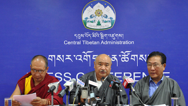 Mr Sonam Choephel Shosur, Chief Election Commissioner accompanied by the two additional election commissioners Ven Tempa Tashi (left) and Mr Tenzin Choephel (right) at the press conference, 27 April 2016.