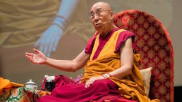 His Holiness the Dalai Lama teaching Shantideva's A Guide to the Bodhisatva's Way of Life at Osaka, 10 May 2016. Photo/Tenzin Choejor/OHHDL