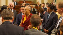 His Holiness the Dalai Lama with members of the legislature after his address at the State Assembly in Sacramento, California on June 20, 2016. Photo/Jeremy Russell/OHHDL