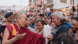 His Holiness the Dalai Lama conveying his deep condolences to a tourist from Nice over the tragedy that struck France on his way to the Jokhang in Leh, Ladakh, J&K, India on July 27, 2016. Photot/Tenzin Choejor/OHHDL