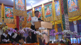 Sikyong Dr Lobsang Sangay addressing Tibetan devotees from Nepal and Bhutan at the 34th Kalachakra, Bodh Gaya, 10 January 2017.