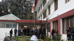 Sikyong Dr Lobsang Sangay hoisting the Indian national flag on India's 68th Republic Day, 26 January 2017.