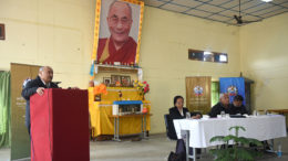 Mr Sonam Choephel Shosur, Chairman of Public Service Commission delivering inaugural speech at inauguration of a two-month induction training at Tibetan Reception Centre, 30 January 2017.