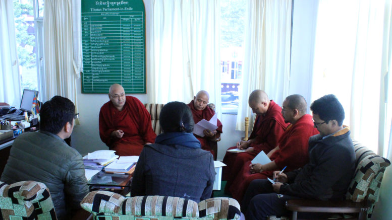 The committee with Speaker Khenpo Sonam Tenphel and Deputy Speaker Acharya Yeshi Phuntsok of the Tibetan Parliament before the budget review meeting, 16 February 2017.