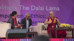 His Holiness the Dalai Lama speaking at the Itihaas inaugural talk on Compassion and Ethics: Source of Happiness at Convent of Jesus and Mary, New Delhi on 6 February 2017. Photo/Tenzin Choejor/OHHDL