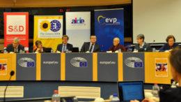 (L-R) MEP Tokes, MEP Scott-Cato, MEP Mann, MEP Preda, Ven. Dagpo Rinpoche, Ms Patton (translator) and Ms Holzman