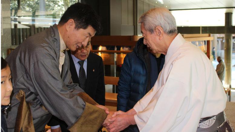 Sikyong Dr Lobsang Sangay with Chief Priest Najima Shotaro at Meiji Shrine, a Shinto shrine, Tokyo. Photo/Meiji Shrine