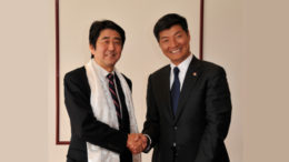 Sikyong Dr Lobsang Sangay with the then opposition leader Mr Shinzo Abe during his visit to Japan in April 2012.
