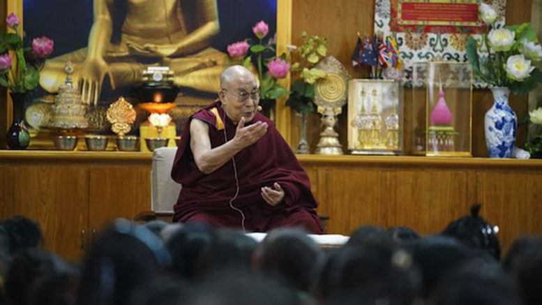 His Holiness the Dalai Lama speaking to the participants and organisers of the Tibetan Women's Empowerment Conference during the special meeting held at His Holiness' residence on 23 February 2017. Photo/Tenzin Choejor/OHHDL
