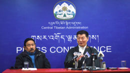 Sikyong Dr Lobsang Sangay and Kashag Secretary Mr Topgyal Tsering at the press conference, 2 February 2017.